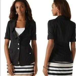 WHBM Short-Sleeve Ruffled Lapel/Utility Blazer